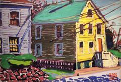 Yellow House on Bradford (Fauvist-Style Suburban Landscape Oil Painting)
