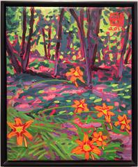 Forest Lilies (Modern Abstracted Landscape Painting of Orange Lilies on Green)