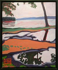 Rain Puddles, Hudson River (Modern Fauvist Style Abstracted Landscape Painting)