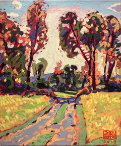 Road Home (Modern, Fauvist-Style Abstract Landscape Oil Painting on Linen)