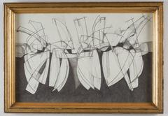 Balla Duchamps #1: Modern, Abstract Futurist Style Drawing in Antique Gold frame