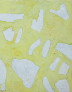Light Shards (Abstract Acrylic Painting on Panel in Pale Citron Yellow)