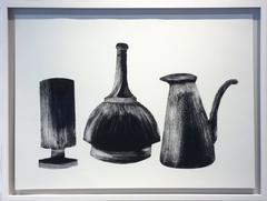 Morandi Series II - Group I (Modern, Black and White Still Life Print, Framed)