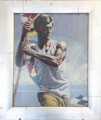 Young Man with Flag: Figurative Oil Painting of Sailor with Bright Nautical Flag