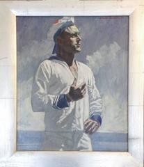 Sailor with Cigarette: Figurative Oil Painting of Nautical Man in Blue and White