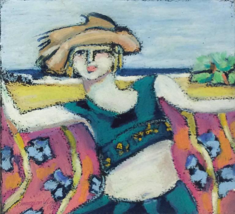 Seaside (French Nabis Expressionist Pastel Drawing of a Young Girl at the Beach)