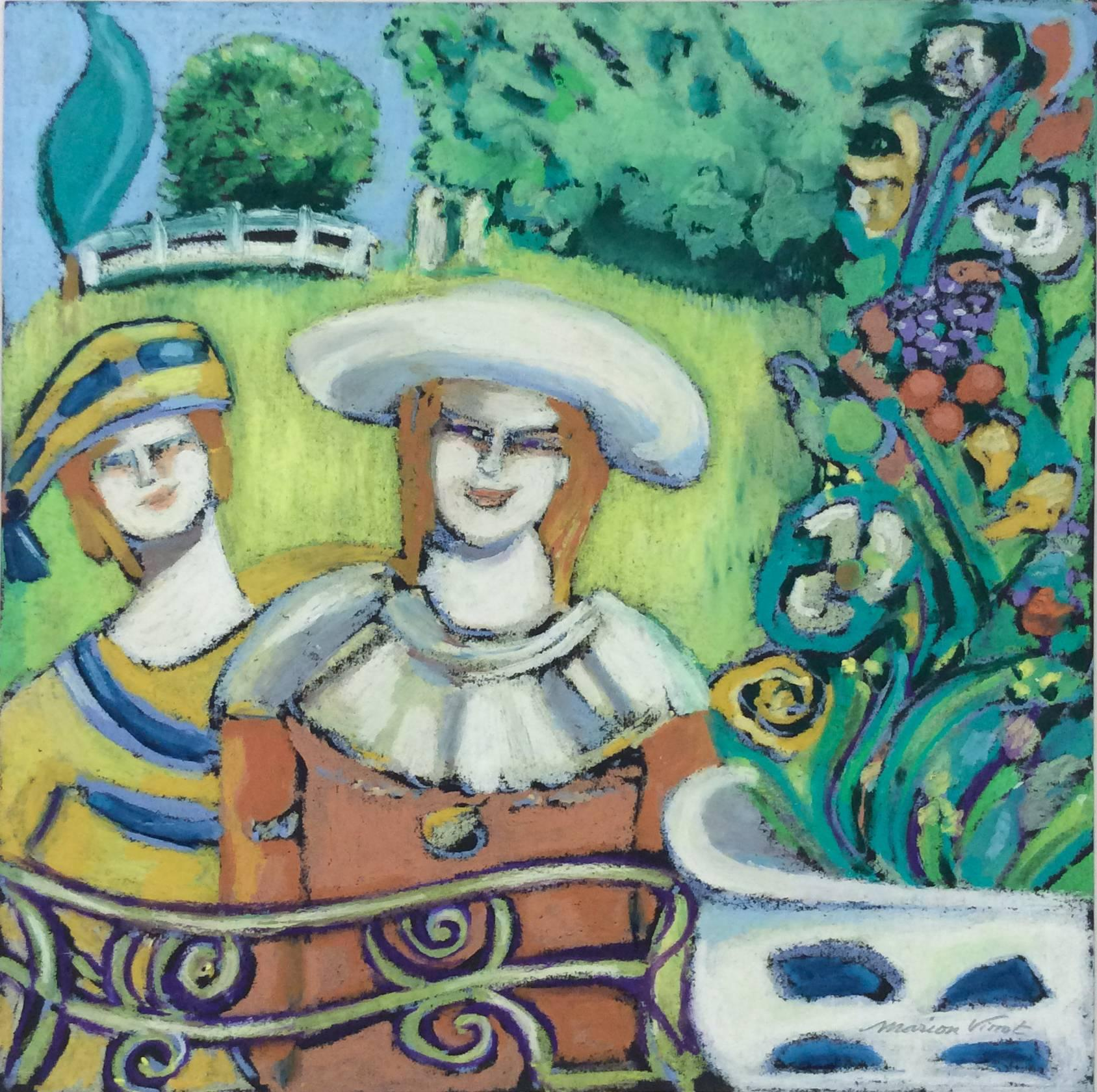 The Guests (French Nabis inspired Expressionist Figurative Oil Pastel Drawing)