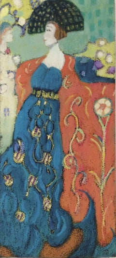 Dolls (French Nabis Inspired Oil Pastel Figurative Drawing of Woman in Gown)