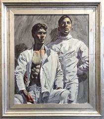 Two Fencers (Figurative Oil Painting of Two Athletic Men in Silver Leaf Frame)