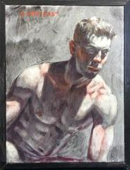 Toned Torso (Small, Academic Style Figurative Oil Painting of Seated Male Nude)