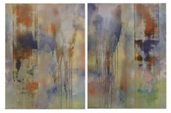 Blue Veils (Pair of Abstract Paintings on Paper, Blue & Orange Metallic Powder)