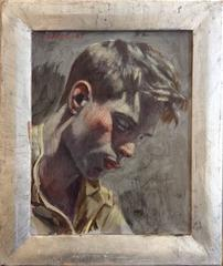 Study for a Portrait (Portrait Oil Painting of a Young Man in Silver Leaf Frame)