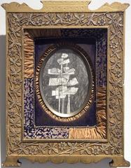 Infanta XXIII (Abstract Cubist Figure in Vintage Embroidered Gold Frame)