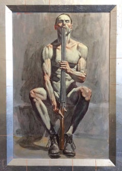 Armed with Rifle (Vertical Figurative Oil Painting of Nude Man with Rifle)