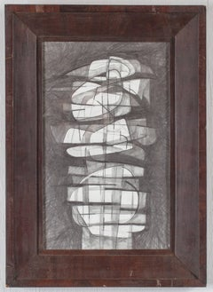 Totem Infanta XV (Cubist Style GraphiteDrawing in Mid Century Modern Wood Frame)