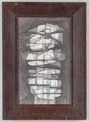 Totem Infanta XV (Cubist Style Drawing in Mid Century Modern Wood Frame)