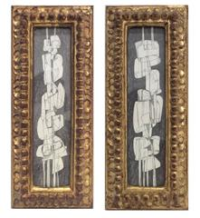 Totems (Diptych): Futurist Style Graphite Drawings in Vintage Gold Buckled Frame