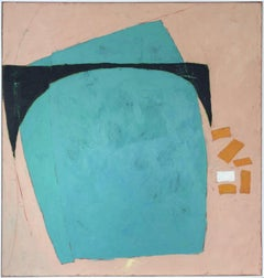 Untitled (Large Graphic Abstract Painting on Canvas in Teal and Peach)