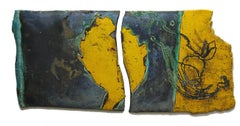 Yellow Diptych (Hanging Ceramic Scroll in Two Pieces)