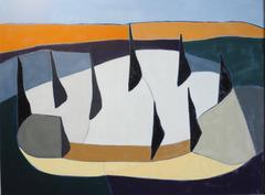 Dead Tree March: Modern Abstract Minimalist Landscape in Orange, White & Blue