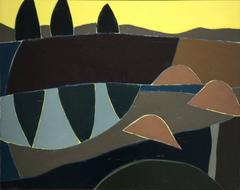 Peter's Picture: Modern Abstract Painting in Brown, Light Umber, Yellow, & Blue