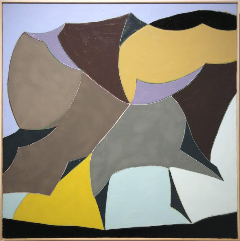 Black Pearl (Square Abstract Landscape Oil Painting in Yellow, Taupe, & Blue)