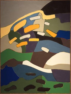 Early Winter Fall (Vertical Abstract Oil Painting in Blue, Earth Tones & Orange)