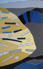Corinne Robbins - Something I Saw (Vertical Modern Abstract Painting in Blue, Grey, & Yellow)