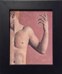 Robert Goldstrom - Anatomy Study 1 (Modern Figurative Oil Painting Detail of Nude Male, Framed)