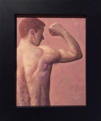 Anatomy Study 3 (Modern Figurative Oil Painting of Nude Male Bicep, Framed)