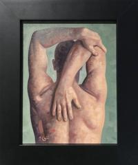 Anatomy Study 4 (Modern Figurative Oil Painting, Back of Male Nude in Frame)