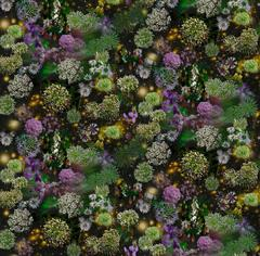 When Walls Drop Away (Modern Abstract Digital Collage of Green & Purple Flowers)