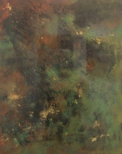 A Day Outside of Paris (Abstract Painting on Metal with Green, Sienna & Gold)
