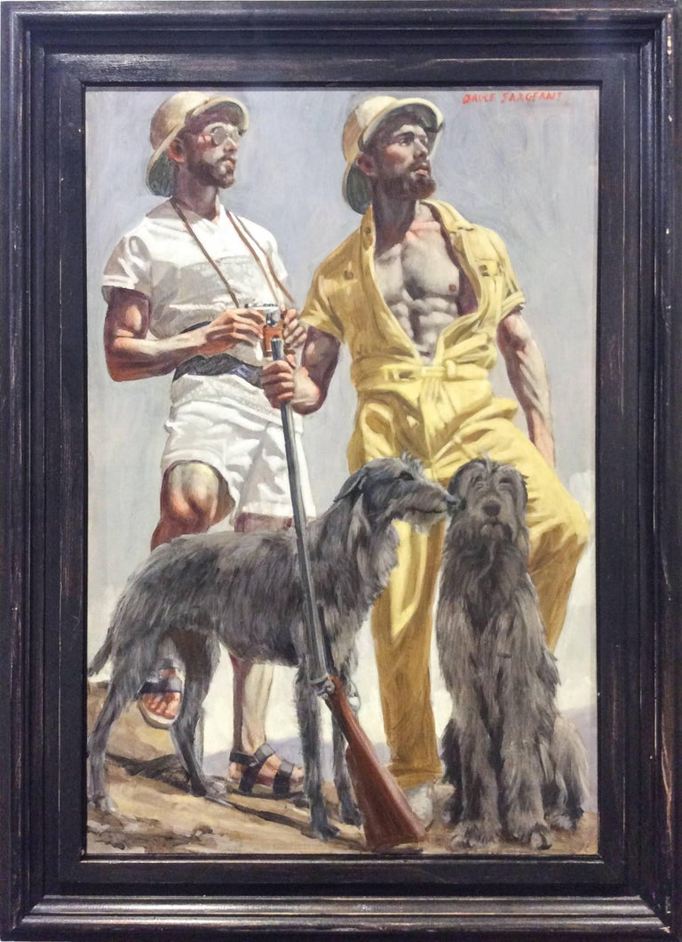 Two Men on Safari (Modern Figurative Oil Painting of Two Stylish Men with Dogs)