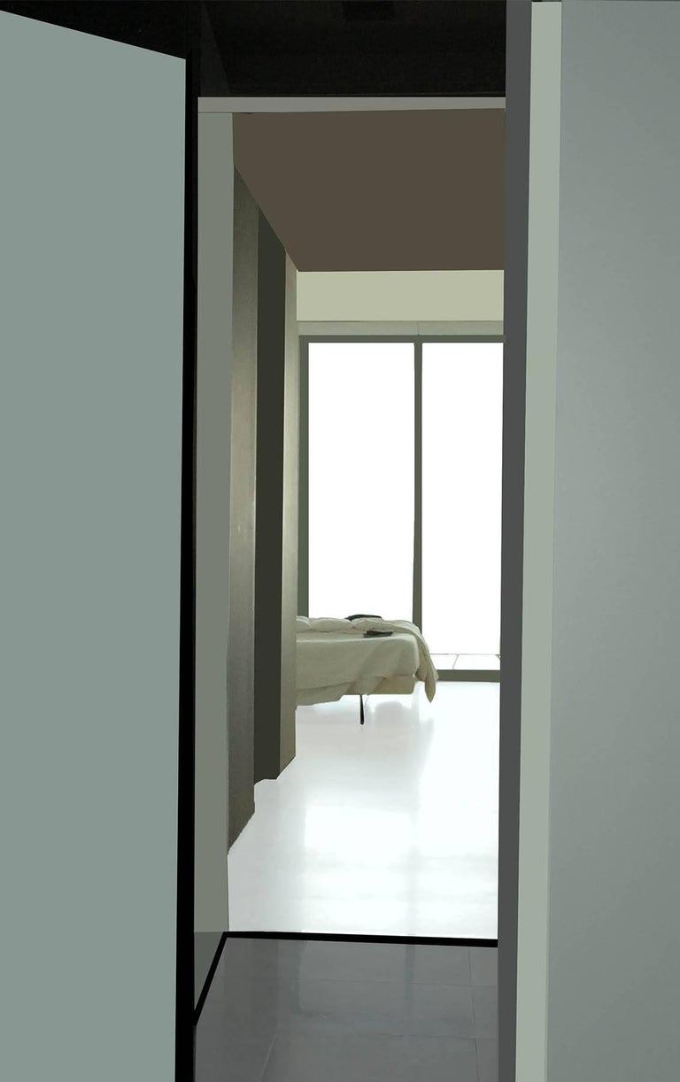 Stephanie Blumenthal Color Photograph - Bed: Contemporary Inkjet Print of Minimalist Interior in Muted Teal, Black Frame
