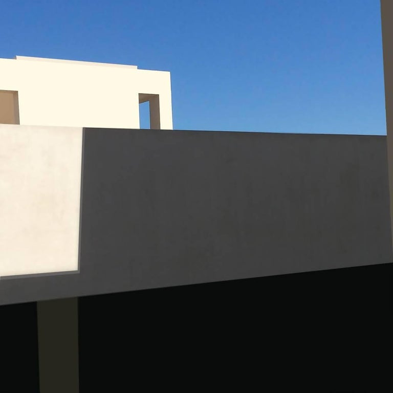 Stephanie Blumenthal Abstract Photograph - White Facade: Architectural Inkjet Print of White Minimalist Building & Blue Sky