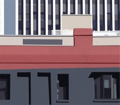 Building (Modern Abstracted Inkjet Print of Minimalist Architecture)