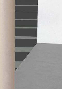 Columns and Stairs (Modern Abstracted Inkjet Print of Minimalist Interior)