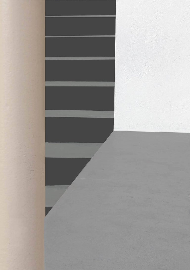 Stephanie Blumenthal Abstract Photograph - Columns and Stairs (Modern Abstracted Inkjet Print of Minimalist Interior)