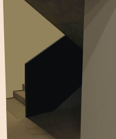 Green Stairs: Modern Abstract Inkjet Print of Minimalist Interior in Black Frame