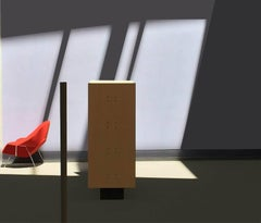 Red Chair (Modern Abstract Inkjet Print of Minimalist Interior in Black Frame)