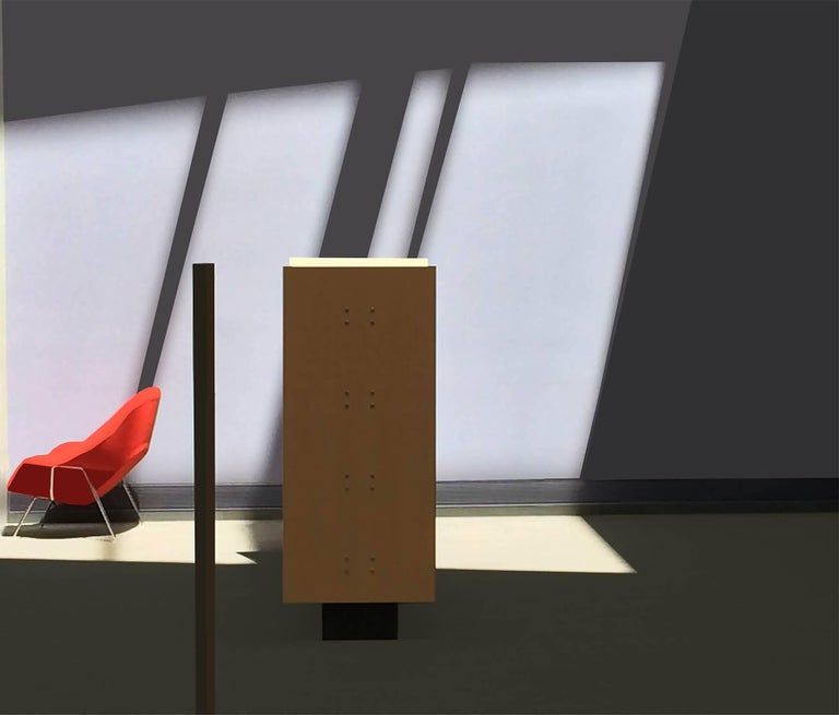 Stephanie Blumenthal Color Photograph - Red Chair (Modern Abstract Inkjet Print of Minimalist Interior in Black Frame)
