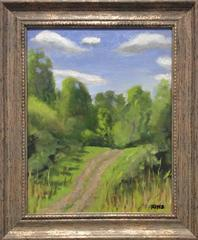 Summer Path (Small Oil Landscape Painting of Country Field)
