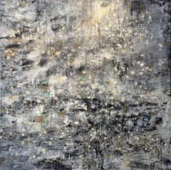 Beyond the North Wind (Abstract Expressionist Painting in Black White & Gold)
