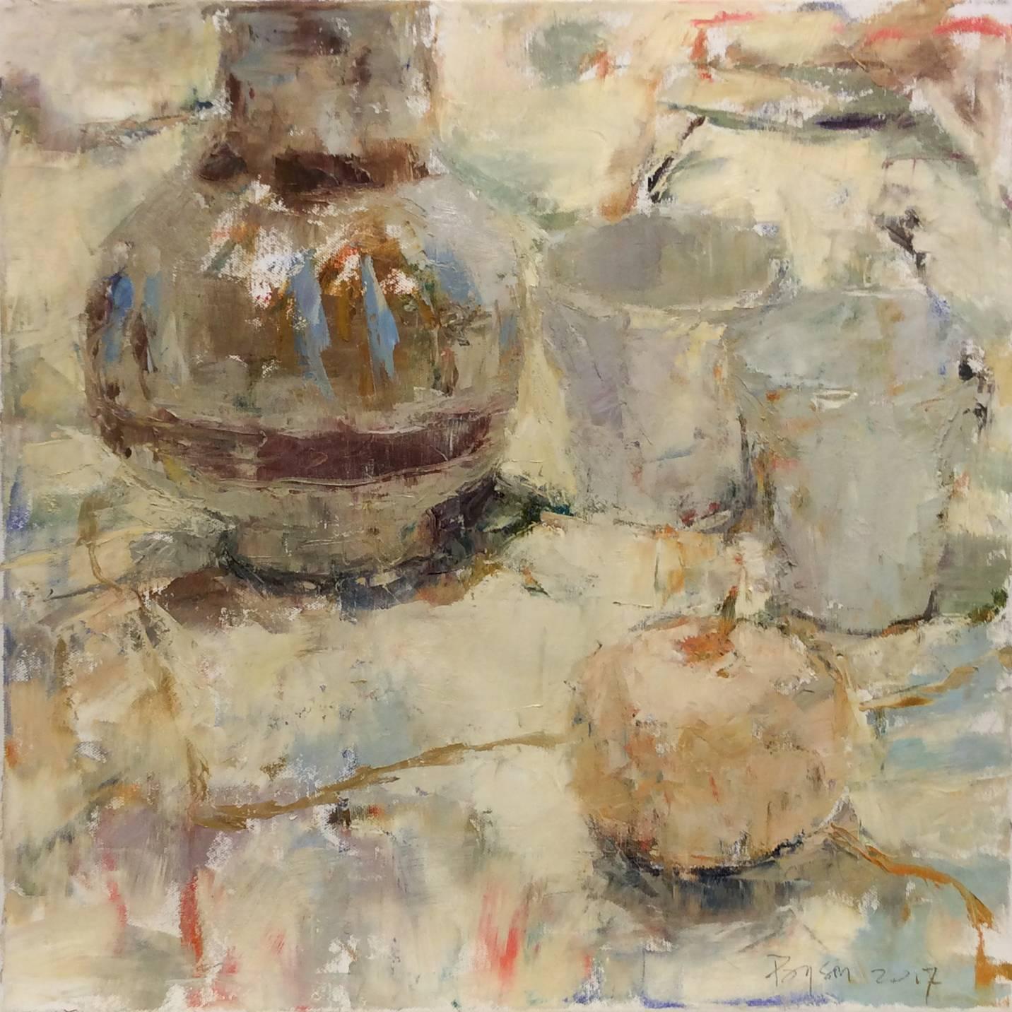 Vase Still Life with Pink Apple (Modern Impressionist Still Life Oil Painting)