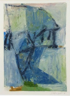 Untitled (blue): Small abstract painting in blue and green on unframed canvas