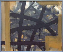 Criss Cross (Abstract Expressionist Oil Painting in Sienna Yellow, Grey, Black)