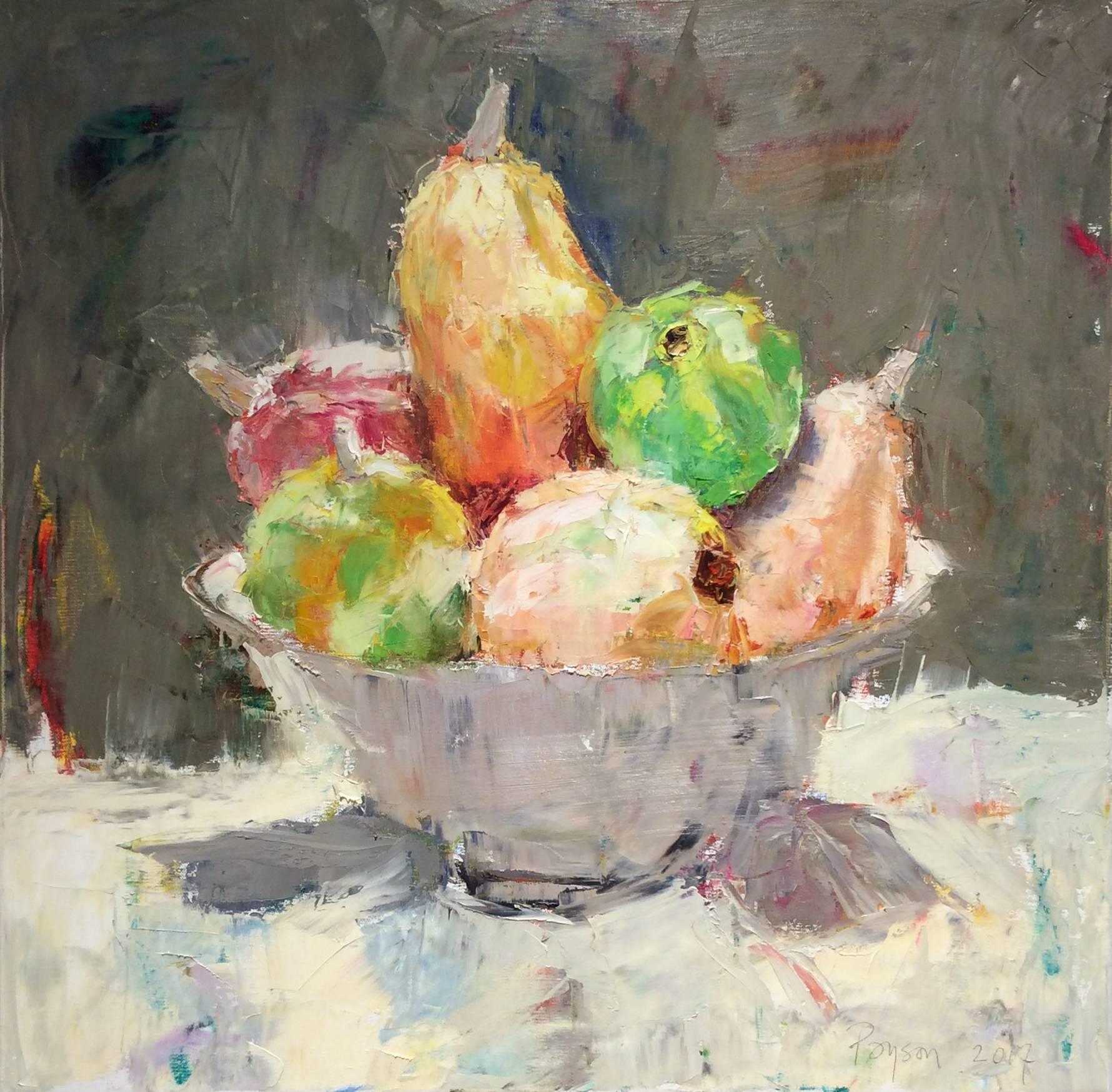 Fruit Bowl Still Life II (Square Still Life Oil Painting on Canvas)
