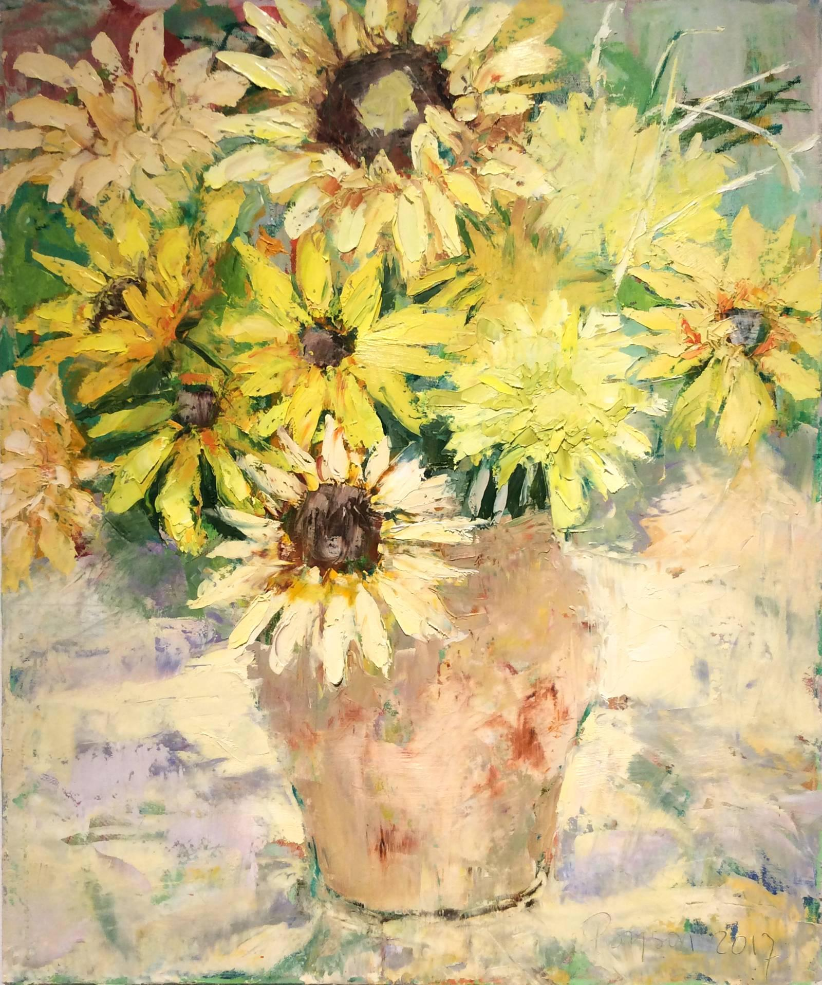 Sunflowers in Beige Vase (Vertical Still Life Oil Painting on Canvas)