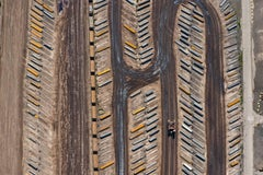 Field of Large Steel Plates and Large Loader (Aerial Industrial Photograph)
